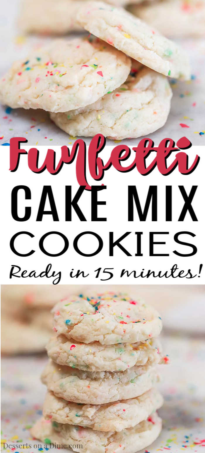 Funfetti Cake Mix Cookies take minutes to make and you only need 3 ingredients. These cookies are fun to make and taste moist and delicious.