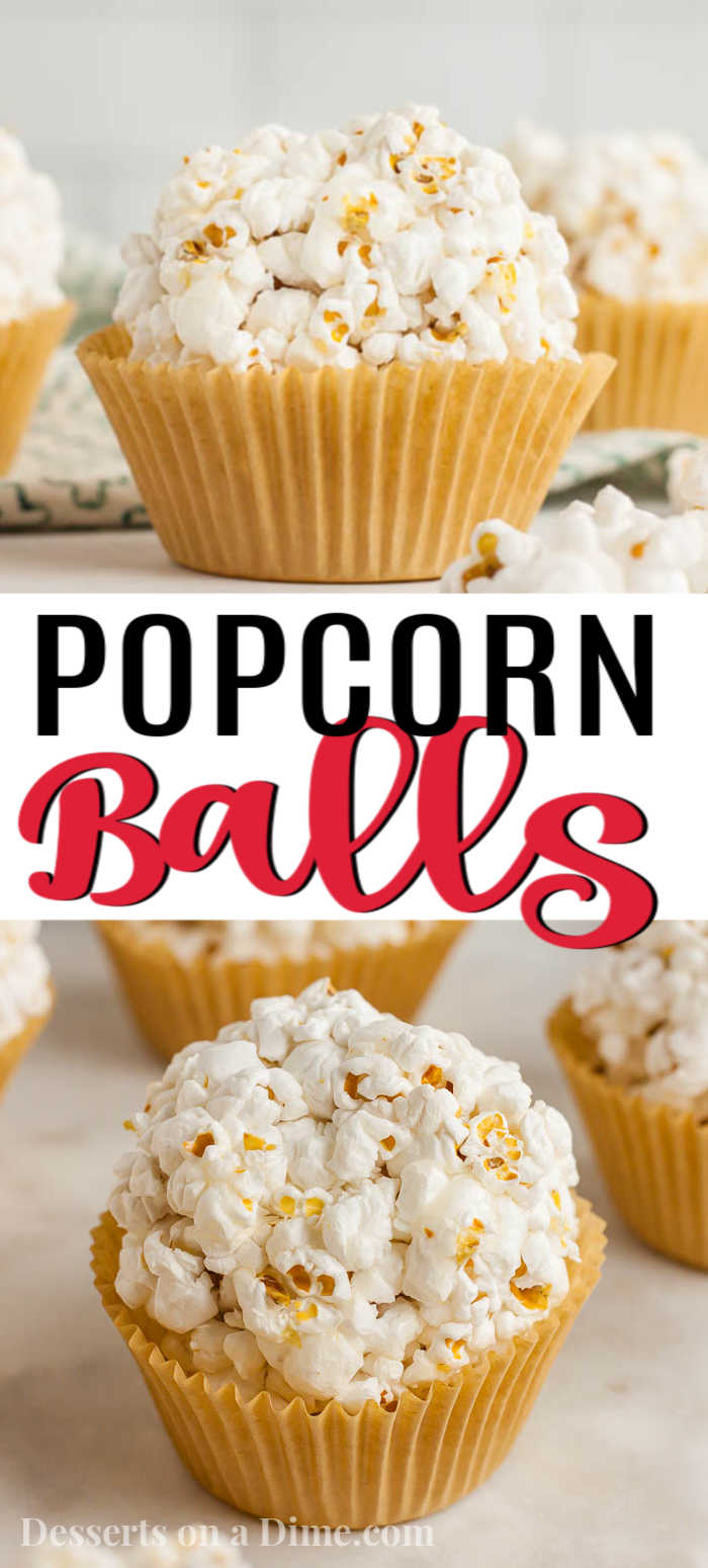 Your entire family will love this easy popcorn balls recipe. Learn how to make old fashioned popcorn balls that are great for Halloween or Fall. It's easier than you think to make these quick popcorn balls with kart syrup. #dessertsonadime #popcornballs #dessertrecipes