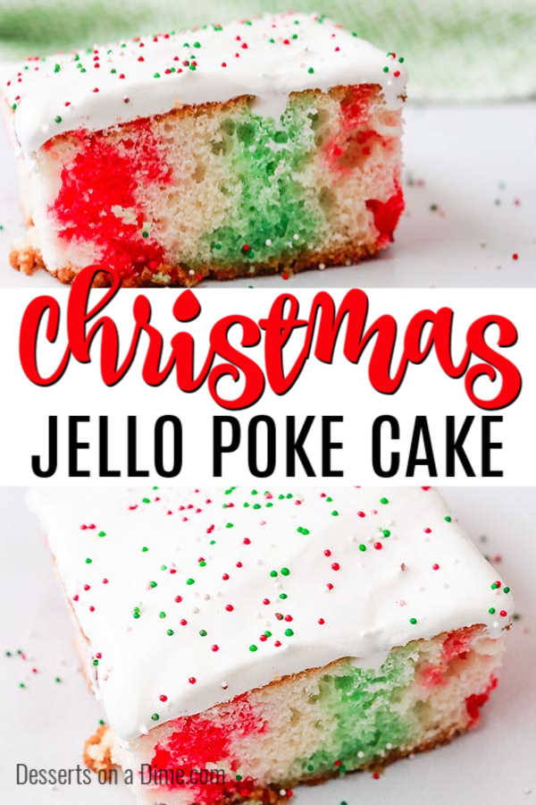 Christmas jello poke cake recipe only requires a few simple ingredients but the results are amazing. Not only does this cake look festive but it is tasty!