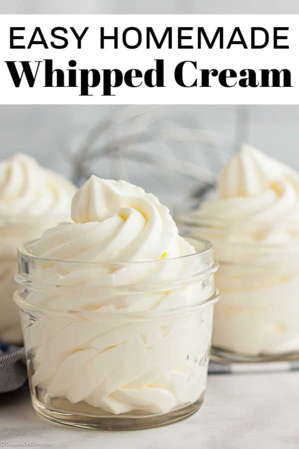 Once you try this Homemade Whipped Cream Recipe, you will never buy store bought whipped cream. This is so easy with just 2 ingredients and tastes amazing.