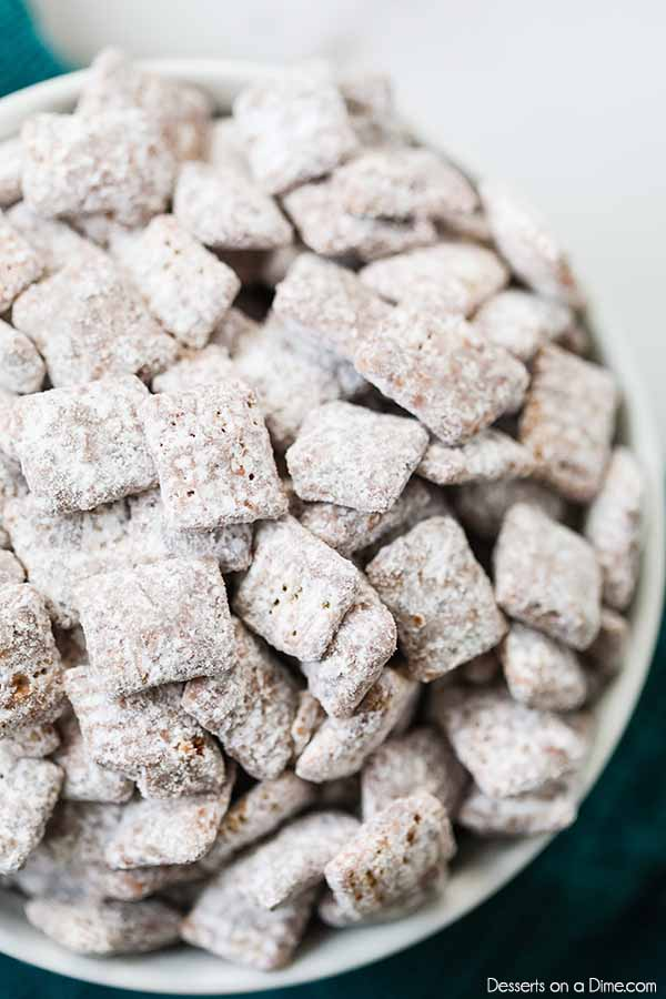 Puppy Chow Recipe is so simple to make but the best treat. Whether you call it puppy chow or muddy buddies, it is amazing and perfect for any occasion.