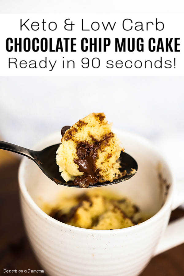 Keto Chocolate Chip Mug Cake is so decadent but the entire recipe is keto friendly. Enjoy this easy dessert in only 90 seconds from start to finish!