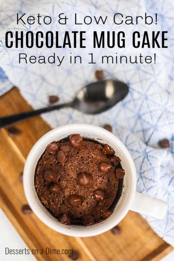 Keto Chocolate Mug Cake Recipe is so amazing and ready in just 1 minute! Enjoy a sweet treat anytime a sugar craving hits without any guilt.