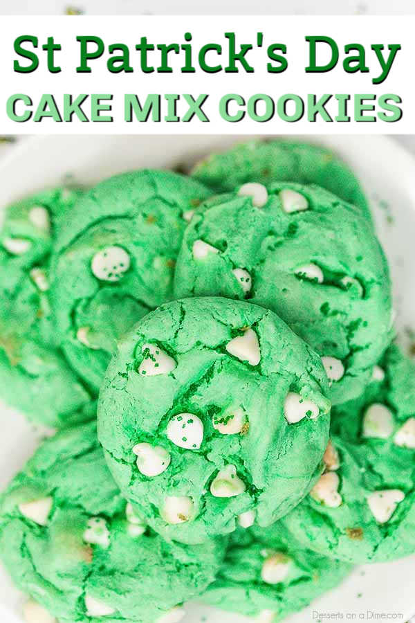 Make a festive treat in minutes with this St Patrick's day cake mix cookie recipe.  The secret is a cake mix and you can whip this up quickly.