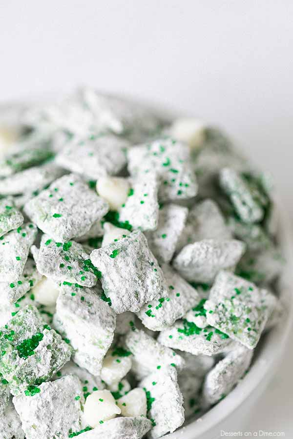 St Patricks Day Puppy Chow is the best recipe to enjoy with little work. Lots of delicious peanut butter, powdered sugar and more combine for a great treat.