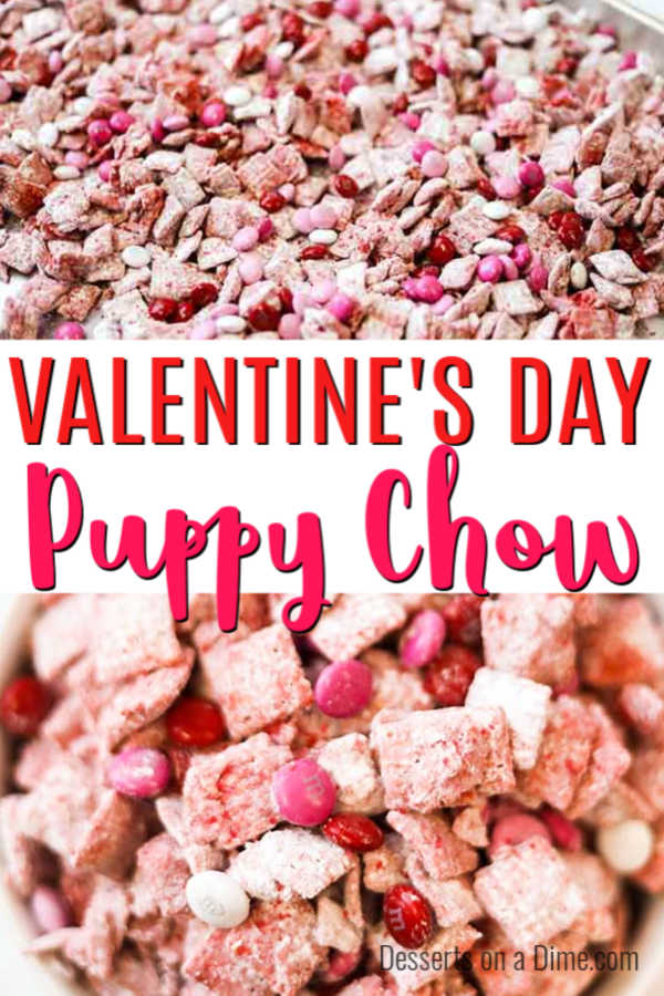 We make Valentine's Day Puppy Chow Recipe every year for a special treat. Whether you call it puppy chow or muddy buddies, this recipe is so delicious.
