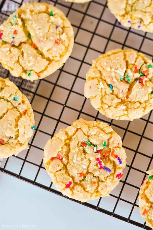 Yellow Cake Mix Cookies require only 4 ingredients and the results are the best cookies! Make these for parties, holidays and more for a tasty treat.
