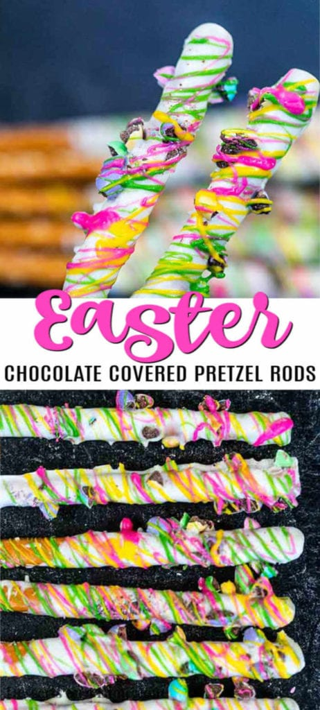 Spring is around the corner and Easter chocolate covered pretzel rods are a must try! Get the kids involved and let them help decorate! These are so fun!