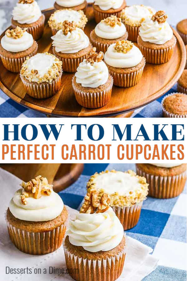 This carrot cake cupcakes recipe from scratch is easy to make and will be a family favorite. These moist carrot cake cupcakes are the best and perfect for any occasion. You are going to love these simple homemade carrot cupcakes with cream cheese frosting. #dessertsonadime #carrotcupcakes #dessertrecipes #cupcakerecipes