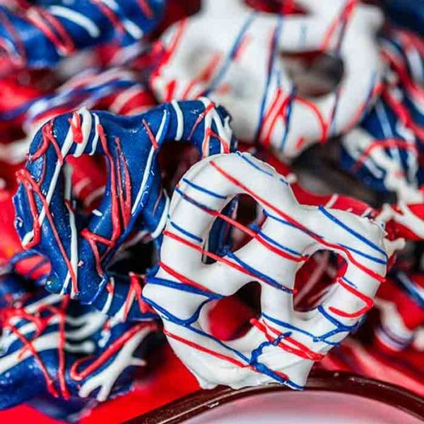 Red White and Blue Chocolate Covered Pretzels