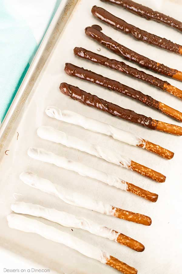 Chocolate covered pretzel rods comes together in under 5 minutes and with only 3 ingredients. This is the perfect salt and sweet treat.