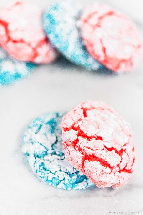 Red white and blue crinkle cake mix cookies are so soft and delicious. Plus, they are so festive and patriotic. Make these delicious cookies today!