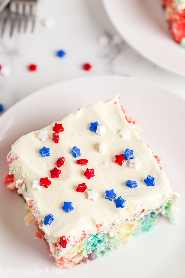 If you are looking for a patriotic and super easy dessert, this 4th of July poke cake recipe is the one to try! With only a few ingredients, it is so easy.