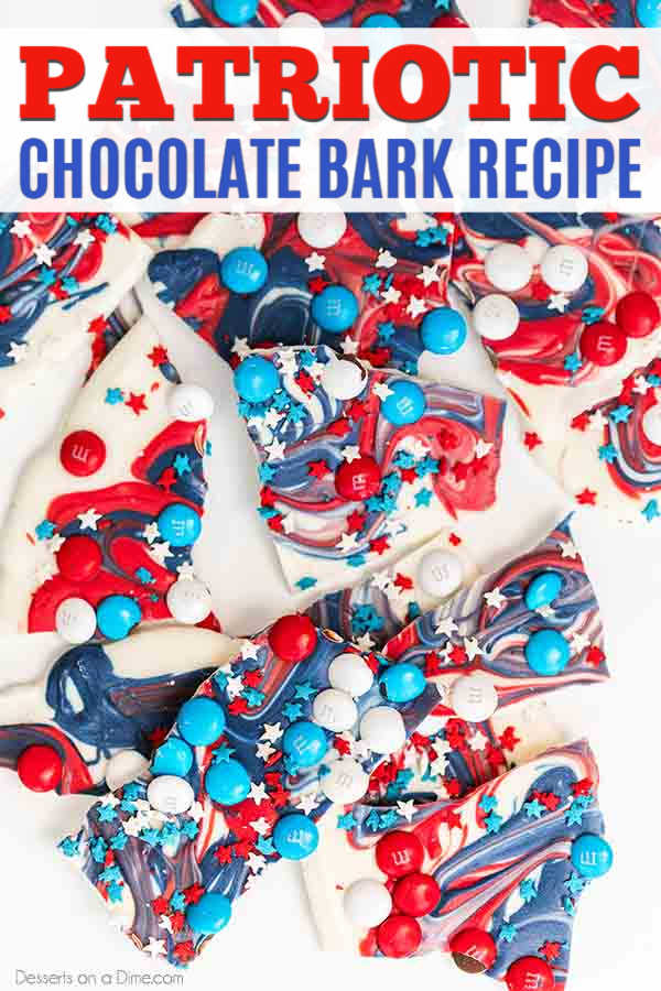 Red white and blue chocolate bark recipe is the perfect patriotic candy to make for a festive treat. 4th of july chocolate bark is super easy and tasty.