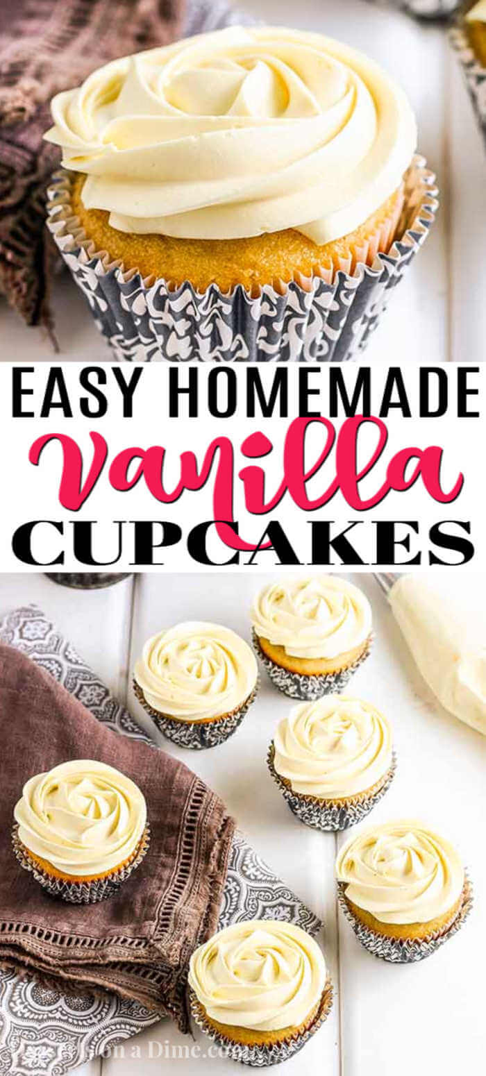 This classic Homemade Vanilla Cupcake Recipe is very simple and perfect for any occasion. Skip the box mixes and make these vanilla cupcakes from scratch.