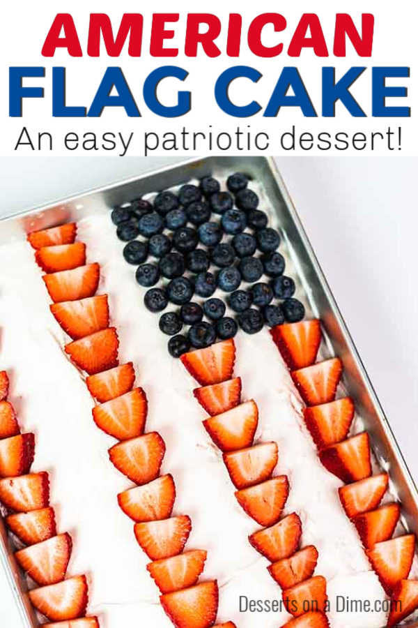 Every 4th of July or Memorial Day party needs an American flag cake! This recipe is super easy and not complicated at all. Let the kids help!