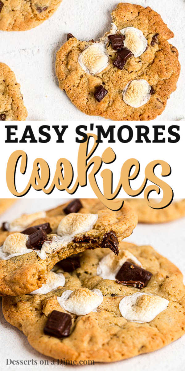 Everything you love about s'mores is packed into this tasty S'mores Cookies Recipe. Each bite is ooey gooey with lots of chocolate, marshmallows and more!