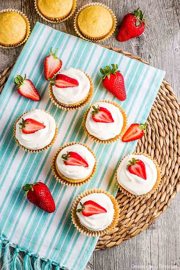 Enjoy everything you love about strawberry shortcake in this tasty Strawberry Shortcake Cupcakes Recipe. Each bite is decadent and the recipe is so easy.