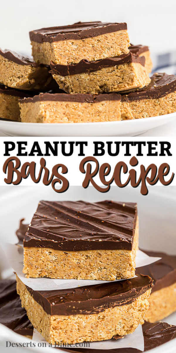 No bake chocolate peanut butter bars combine creamy peanut butter and chocolate into one luscious treat. If you like Reese's Cups, you will love these bars.
