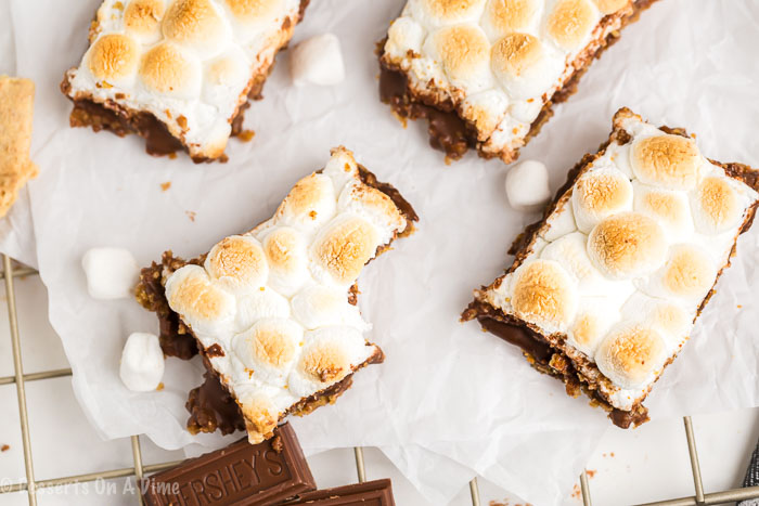 S'mores bars recipe is the perfect treat when you are craving s'mores but need to feed a crowd. These delicious bars make enjoying s'mores so easy!